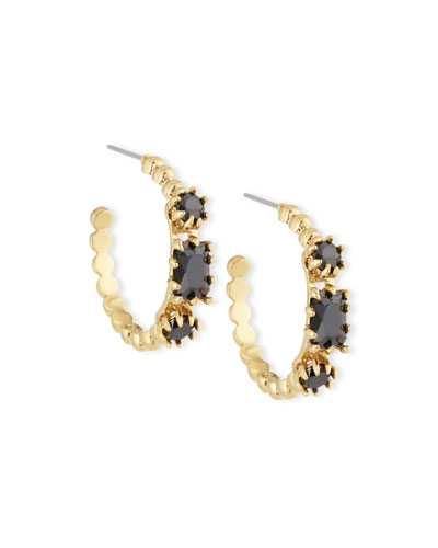 Yellow Crystal & Rose Gold Estate Hoop Earrings