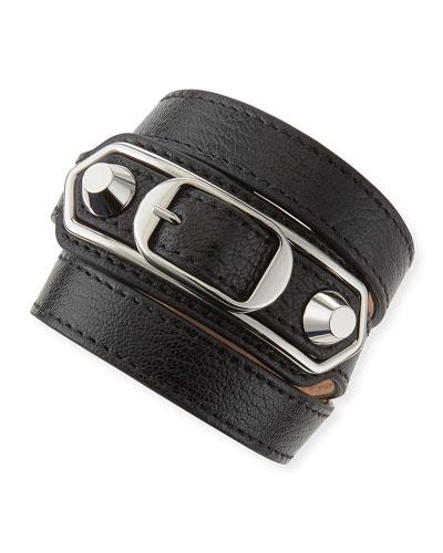 Classic Leather Wrap Bracelet, Black