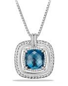 24mm Châtelaine Rope Bezel Hampton Blue Topaz Pendant Necklace with Diamonds
