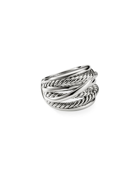 David Yurman Chubby Crossover Wide Ring, Size 6-8