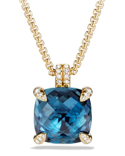 18k Châtelaine® Pendant Necklace in Hampton Blue Topaz, 18