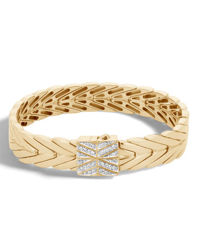 Modern Chain Bracelet in 18K Gold with Diamond Clasp