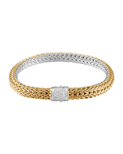 Classic Chain Gold & Silver Medium Reversible Bracelet with Pave Diamond Clasp