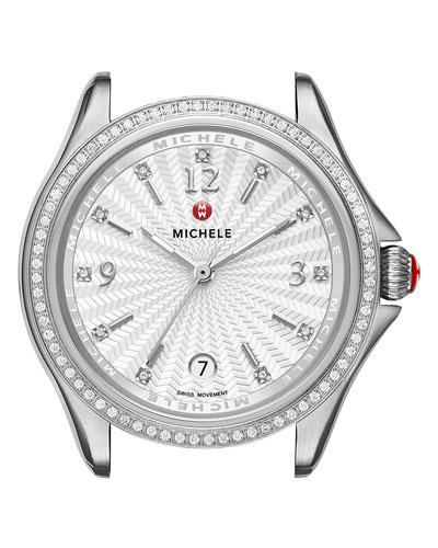 37mm Belmore Stainless Steel Watch Head with Diamonds