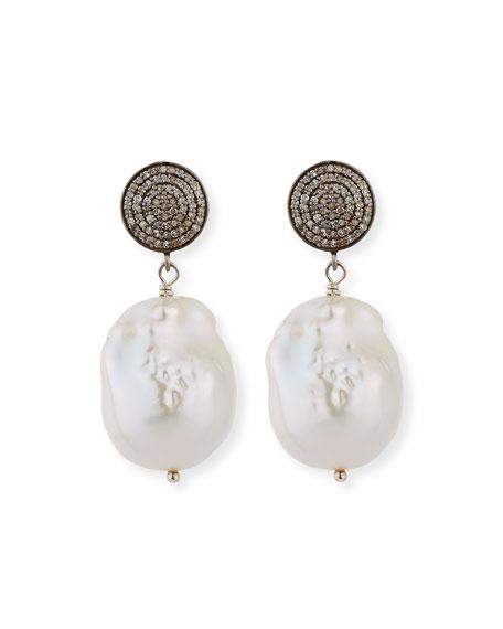 Margo Morrison Baroque Pearl, Pave Diamond & Crystal Drop Earrings