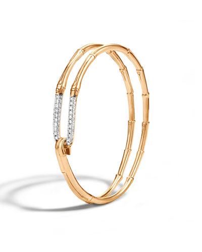 18k Gold Bamboo Hook Bracelet w/ Diamonds, Size S