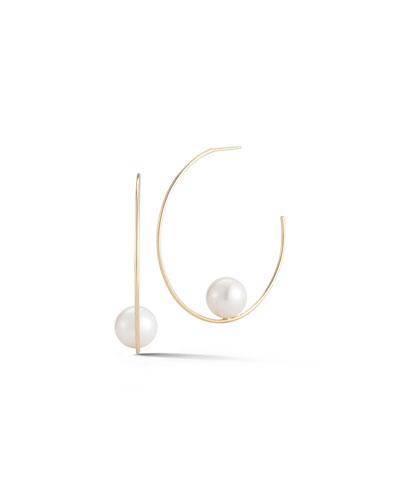 Mizuki Floating Pearl Hoop Earrings