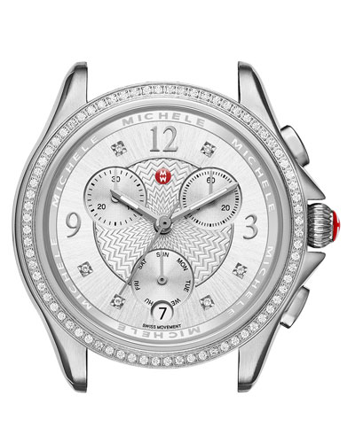 37mm Belmore Stainless Steel Chronograph Watch Head with Diamonds