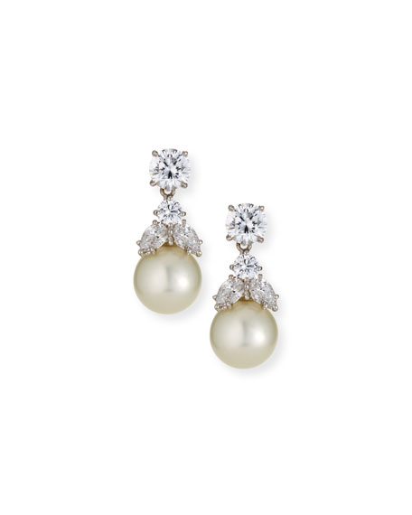 Fantasia by DeSerio Cubic Zirconia & Synthetic Pearl Earrings