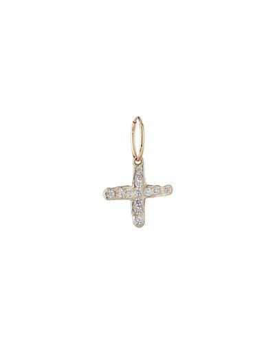 Pave Jachin Cross Earring, Single