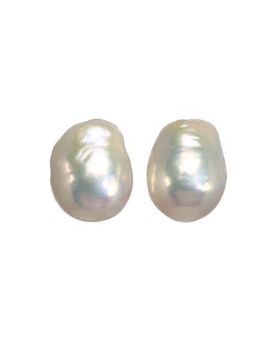Small White Baroque Pearl Earrings