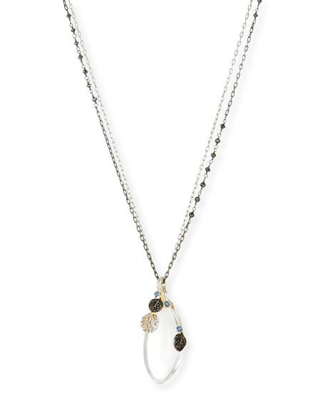 Michael Aram Botanical Leaf Rock Crystal Pendant Necklace