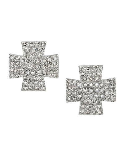 Pave Diamond Maltese Cross Earrings