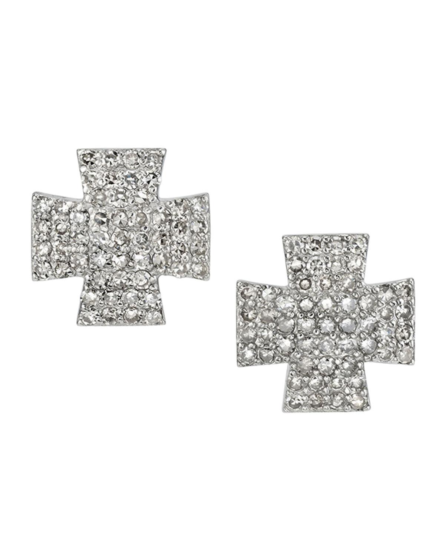 Pave Diamond Maltese Cross Earrings