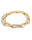 Bamboo 18K Gold Link Bracelet with Diamonds