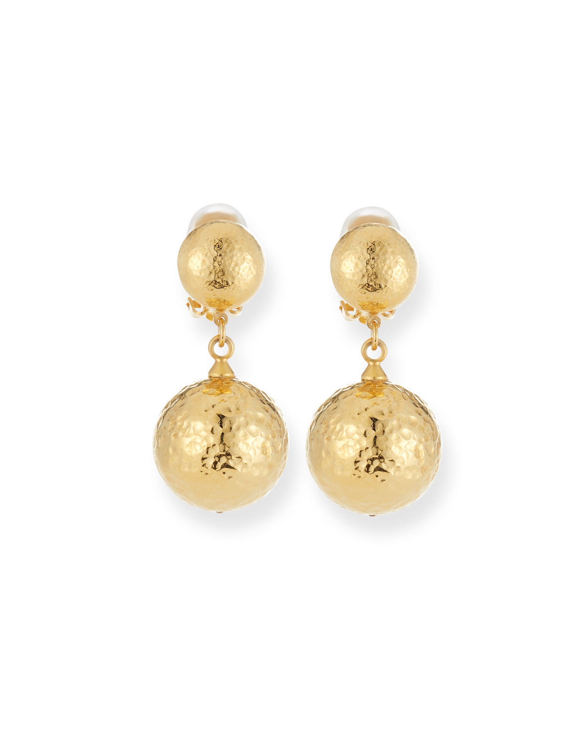JOSE & MARIA BARRERA Hammered Gold Plated Drop Clip-On Earrings