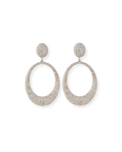 Pave Diamond Doorknocker Hoop Earrings