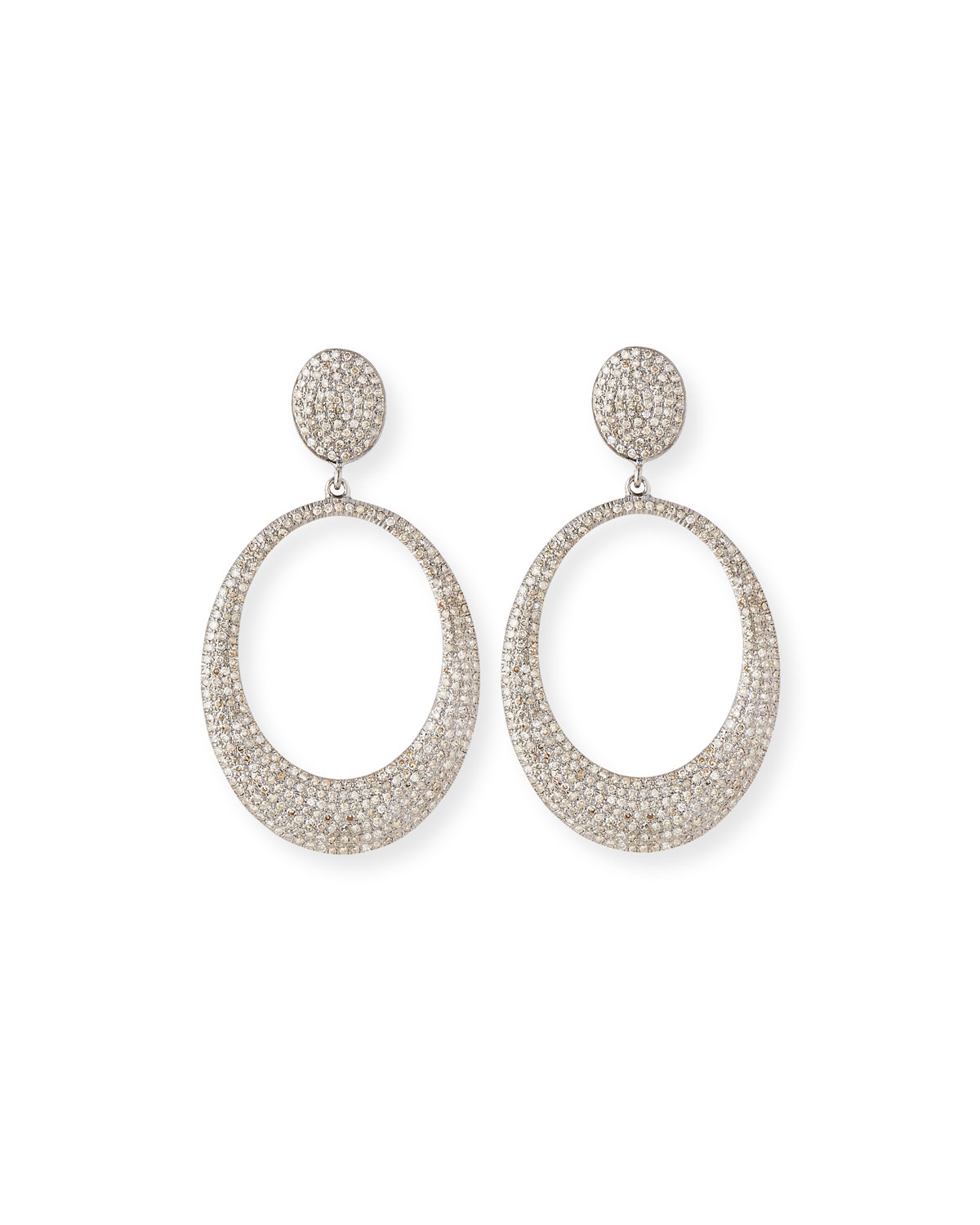Pavé Diamond Doorknocker Hoop Earrings