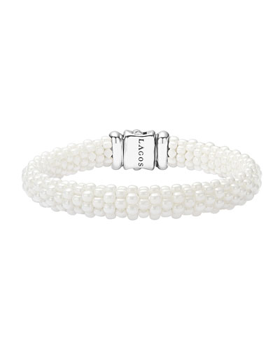 Medium Caviar Ceramic 9mm Bracelet, White
