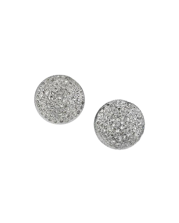 Domed Diamond Stud Earrings, Blue