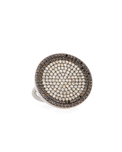 Diamond Pave Circle Ring with Champagne and Black Diamonds, Size 7