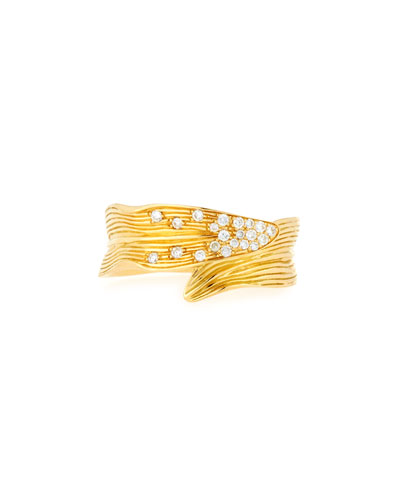 Palm Carved 18K Gold Ring with Diamonds, Size 7, 0.14 tdcw