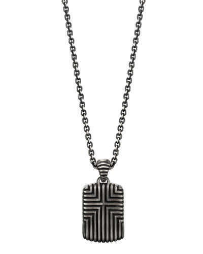 Men's Bedeg Cross Dog Tag Pendant Necklace, 26