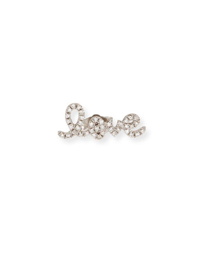 Pave Diamond Love Single Stud Earring