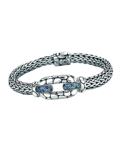 Kali Sterling Silver Bangle Bracelet with Blue Topaz and Iolite