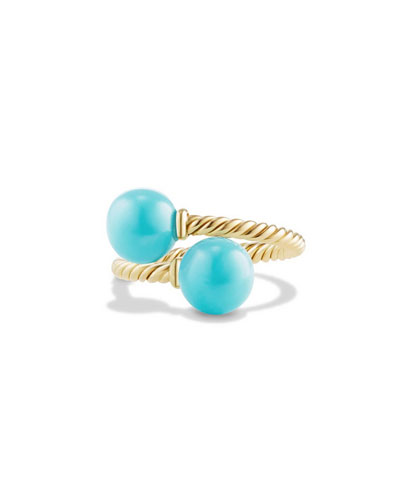 Solari 18K Gold Bypass Ring with Turquoise Cabochons, Size 6