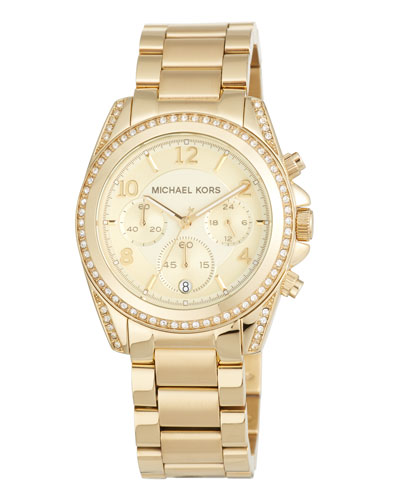 39mm Mini Blair Glitz Chronograph Bracelet Watch, Gold