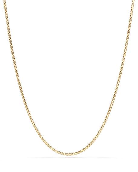 "David Yurman 18k 2.7mm Small Box Chain Necklace, 36"""