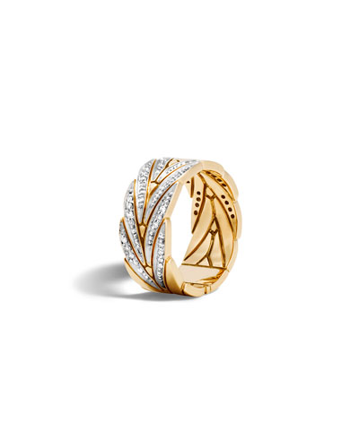 18k Gold Modern Chain Band Ring w/ Diamonds, Size 7