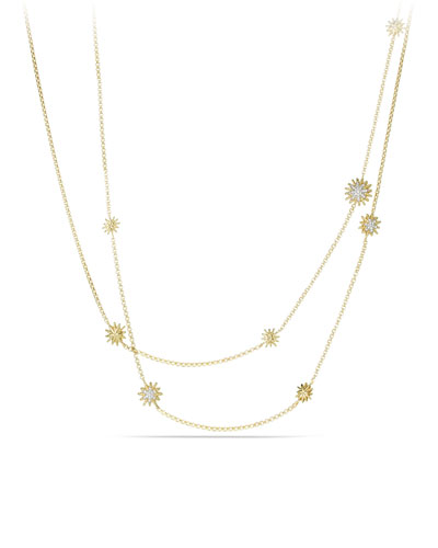 18k Starburst Station Necklace w/ Diamonds, 36