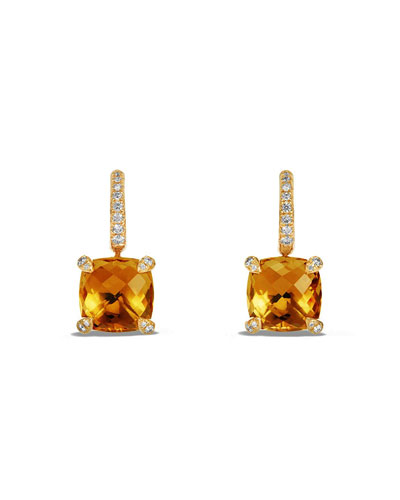Châtelaine Faceted 18K Gold Earrings With Citrine & Diamonds
