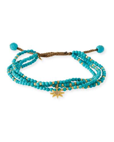 Beaded Star Charm Bracelet, Turquoise