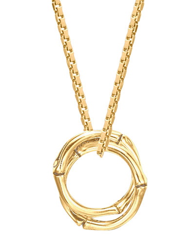 18k Gold Bamboo Link-Pendant Necklace