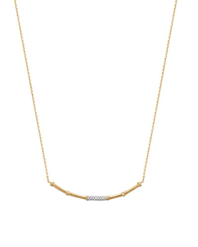 Slim Bamboo 18k Gold & Diamond Necklace