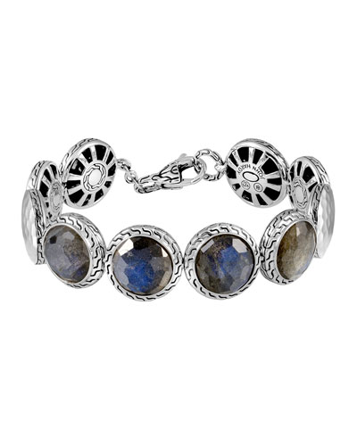 Batu Palu Silver Labradorite Disc Bracelet