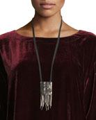 Chevron Beaded Silk Pendant Necklace