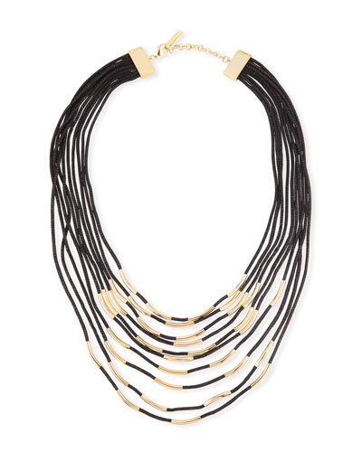 Long Signature Mesh Necklace with Metal Detail