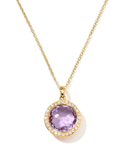 Rock Candy 18k Gold Mini Lollipop Necklace in Amethyst & Diamond