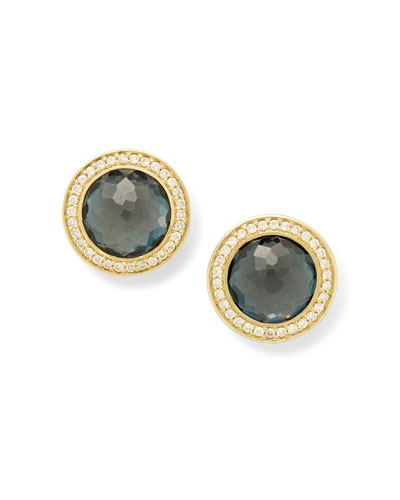 Lollipop 18k Gold London Blue Topaz & Diamond Earrings