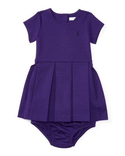 Pleated Ponte Dress w/ Bloomers, Purple, Size 9-24 Months
