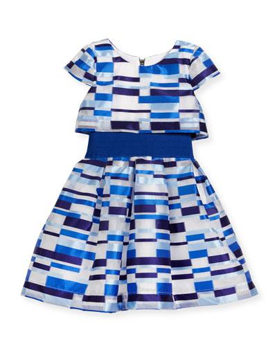 Short-Sleeve Geometric Tulle Popover Dress, Blue, Size 4-6X
