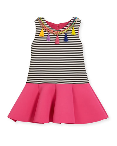 Sleeveless Striped Ponte Flounce Dress, Multicolor, Size 2T-6X
