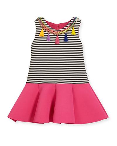Sleeveless Striped Ponte Flounce Dress, Multicolor, Size 2T-6X