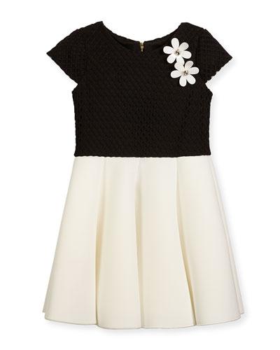 Cap-Sleeve Pleated Jacquard & Ponte Dress, Black/White, Size 4-6X