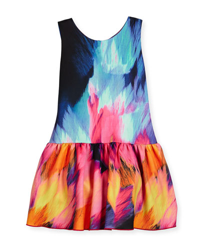 Sleeveless Flame Dropped-Waist Scuba Dress, Multicolor, Size 4-6X