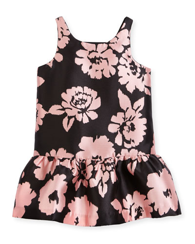 Sleeveless Floral Drop-Waist Smocked Dress, Pink/Black, Size 2-7